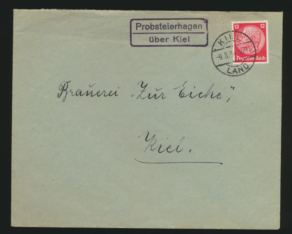 Deutsches Reich Brief EF Landpoststempel Probsteierhagen über Kiel 9.8.1934 0