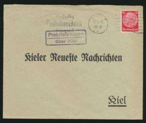 D. Reich Brief EF Landpoststempel Probsteierhagen über Kiel plus Postreisescheck