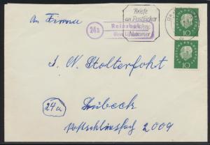 Bund Brief MEF Heuss Landpoststempel Reinsbek über Lübeck 2.1.1961