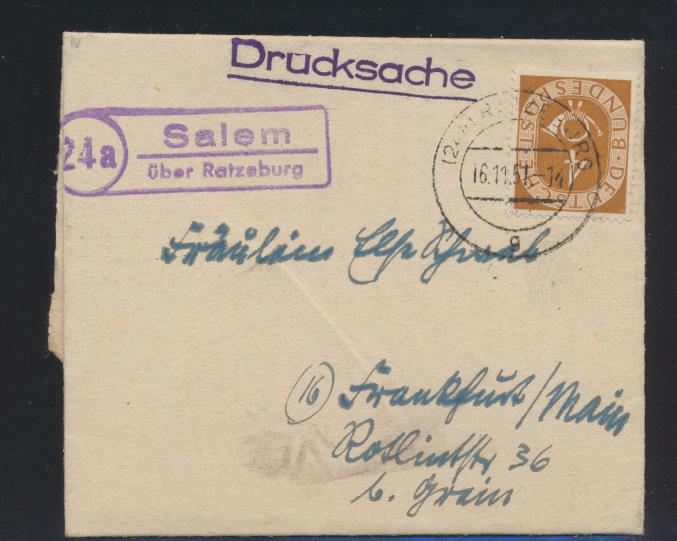 Bund Brief Drucksache Posthorn Landpoststempel Salem über Ratzeburg n. Frankfurt 0