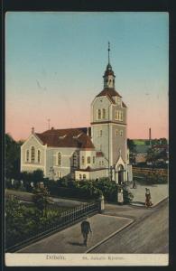 Ansichtskarte Döbeln Kirche leuchtende Fenster Verlag Buchhandlung Uhlmann