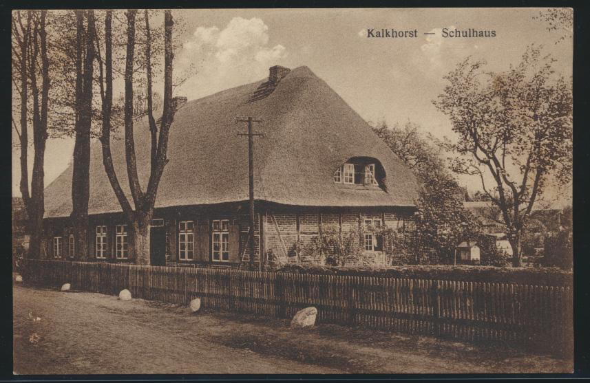 Ansichtskarte Kalkhorst Mecklenburg Schulhaus nach Hamburg 5.9.1928 0