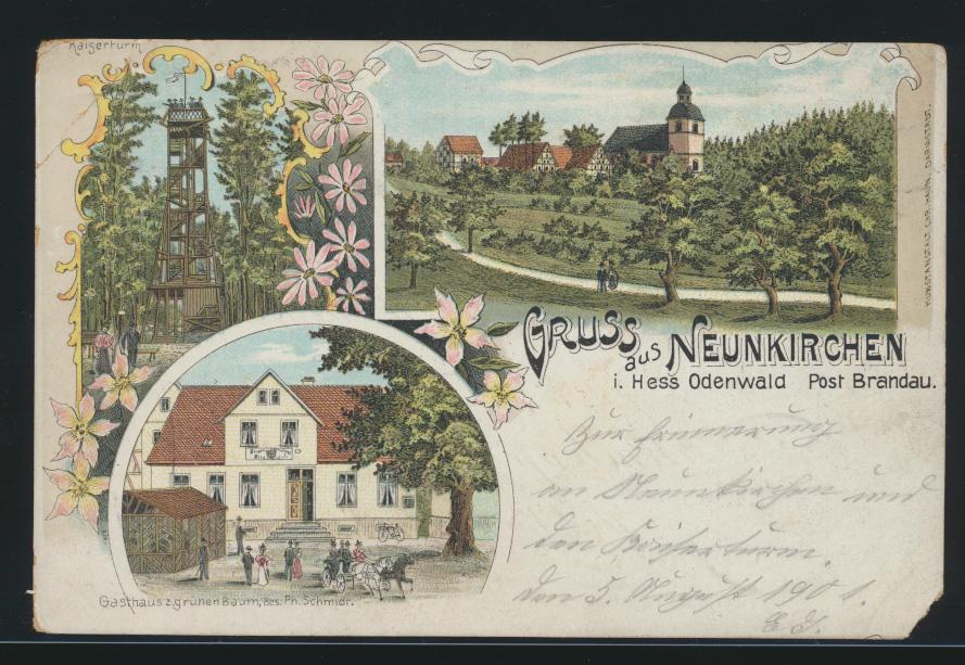 Ansichtskarte Neunkirchen Odenwald Litho Post Brandau Gasthaus z. grünem Baum Ph 0