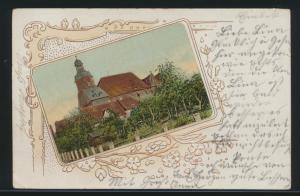 Tolle Jugendstil Präge Ansichtskarte mit aufgeklebten Bild Einbeck Kirche nach
