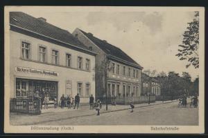 Ansichskarte Döllensradung Ostbahn Bäckerei Warenhandlung Bahnhofstr. n. Berlin