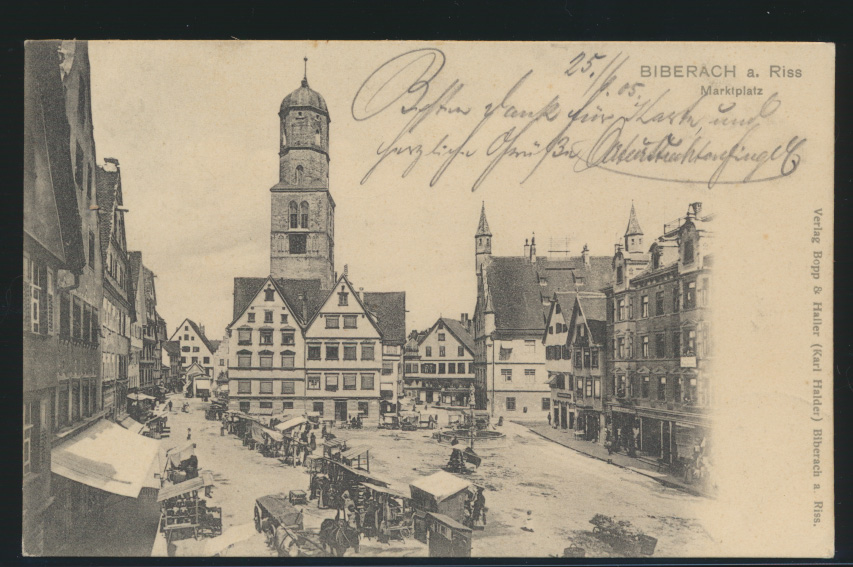 Ansichskarte Biberach Rhein Marktplatz Holzmarkt Verlag Bopp & Haller Amstetten 0