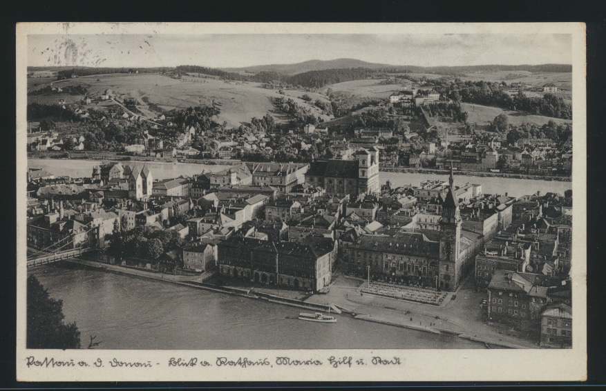 Ansichskarte Passau Sonderstempel Ostmarkpost nach Velburg 0