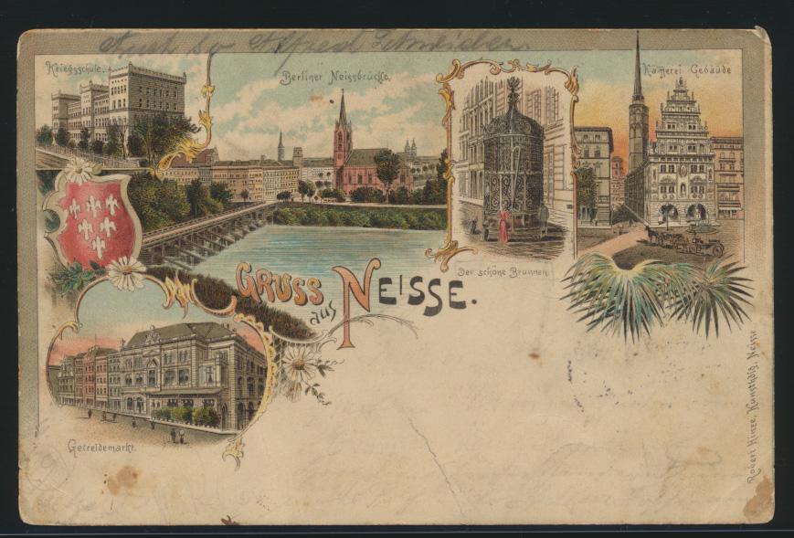 Ansichtskarte Neisse Nysa Litho Getreidemarkt Brück Verlag Robert Hinze 1899 0