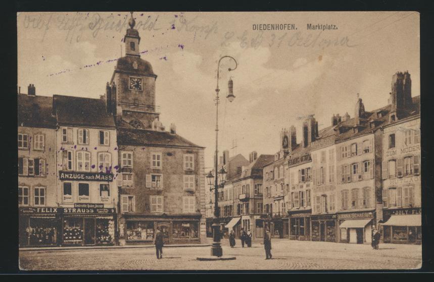 Ansichtskarte Diedenhofen Marktplatz Frankreich France Feldpost Zensur  0