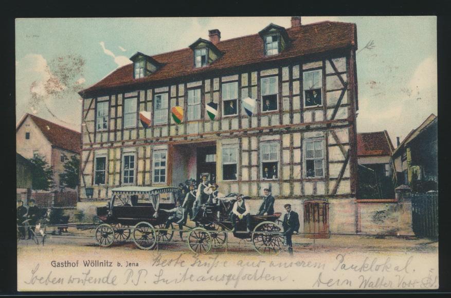 Ansichtskarte Jena Gasthof Wöllnitz Kutsche Pferde Fuhrwerk Passanten n. Hamburg 0