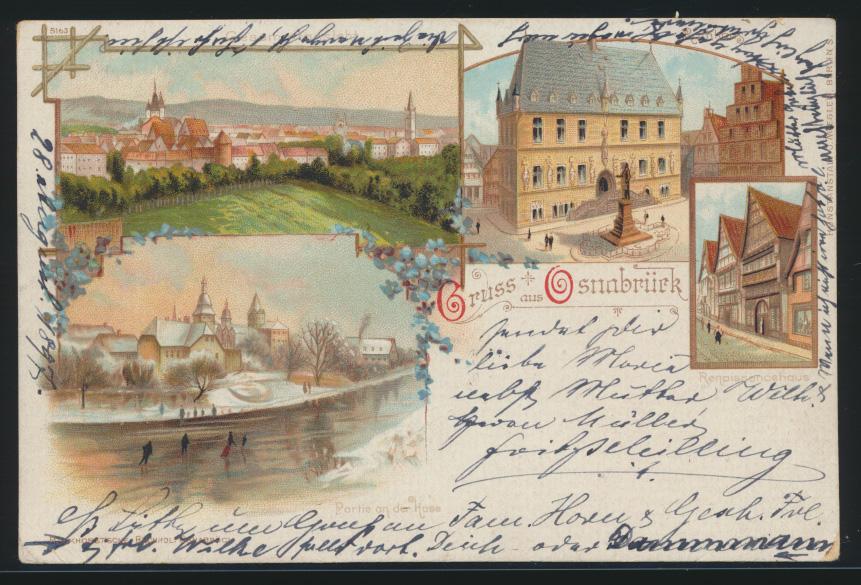 Ansichtskarte Osnabrück nach Lesse Winter Sport Eislaufen Kunstanstalt Miesler  0