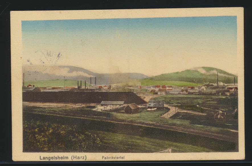 Ansichtskarte Langelsheim Harz Fabrikviertel Industrie nach Stendal 16.8.1920 0
