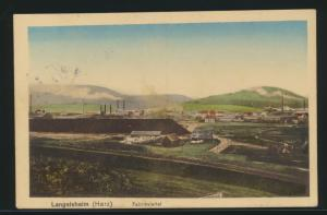 Ansichtskarte Langelsheim Harz Fabrikviertel Industrie nach Stendal 16.8.1920