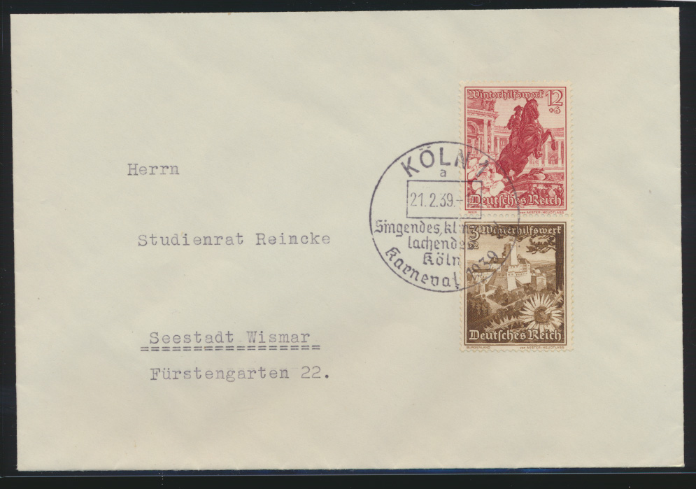 Deutsches Reich Zusammendruck Brief WHW Bauwerke SST Köln Karneval Wismar 0