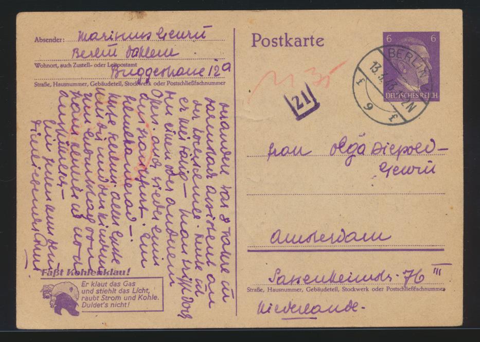 Deutsches Reich Ganzsache P 312 02 Zensur Nachgebühr Amsterdam Niederlande  0