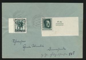 Deutsches Reich Brief MIF Block Einzelmarke 648 Babenhausen 6.10.1938