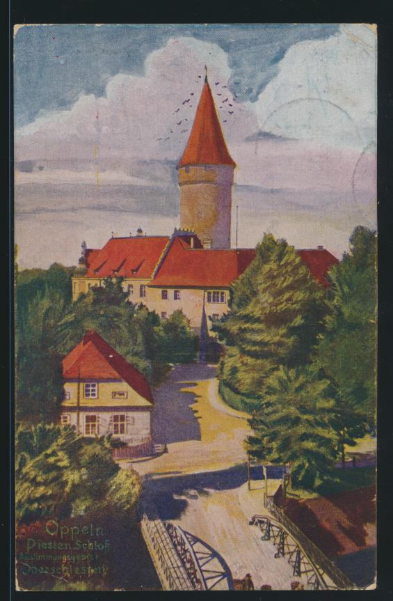 Ansichtskarte Oppeln Schloß Abstimmungsgebiet Ober Schlesien nach Ilmenau 0