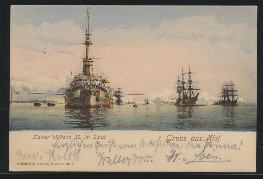 Ansichtskarte Kiel Schiffe Schifffahrt Marine Litho Kaiser Wilhelm II im Salut n 0