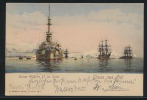 Ansichtskarte Kiel Schiffe Schifffahrt Marine Litho Kaiser Wilhelm II im Salut n