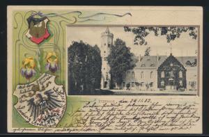 Ansichtskarte Itzehoe Wappen Adler Brustschild Jugendstil Prägekarte n. Hamburg