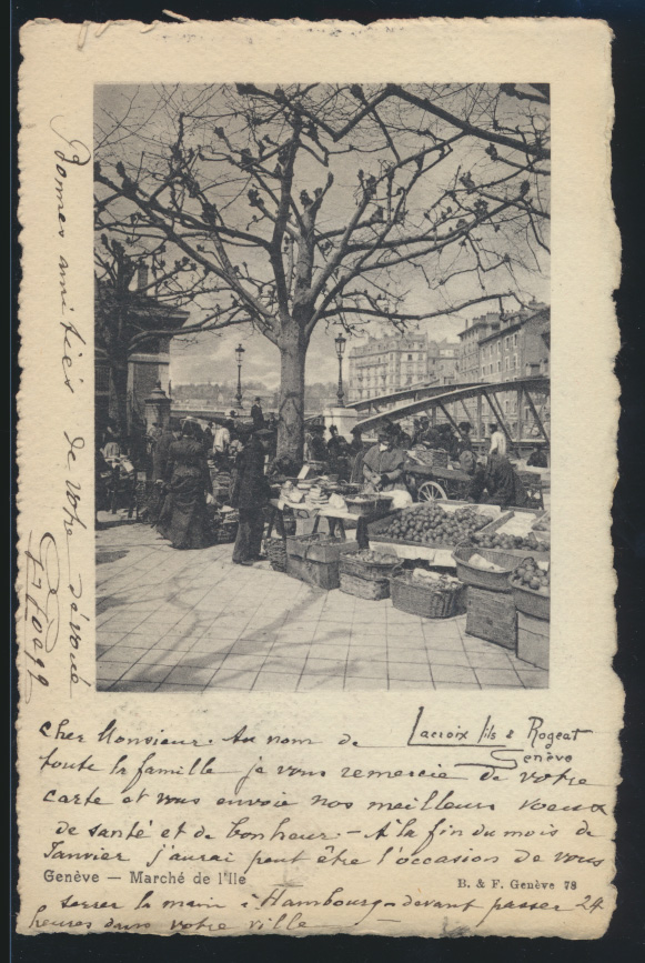 Ansichtskarte Genf Schweiz Markt nach Hamburg 1.1.1904 0
