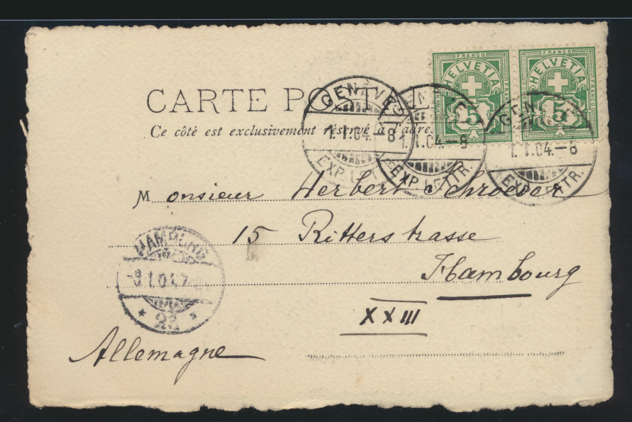 Ansichtskarte Genf Schweiz Markt nach Hamburg 1.1.1904 1