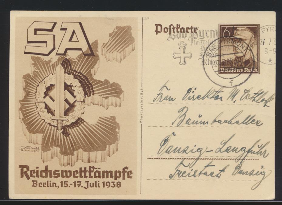 Reich Ganzsache SA Reichswettkämpfe K2 + Werbestempel Pyrmont n. Danzig Langfuhr 0