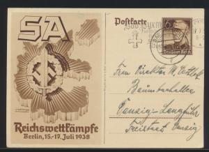 Reich Ganzsache SA Reichswettkämpfe K2 + Werbestempel Pyrmont n. Danzig Langfuhr