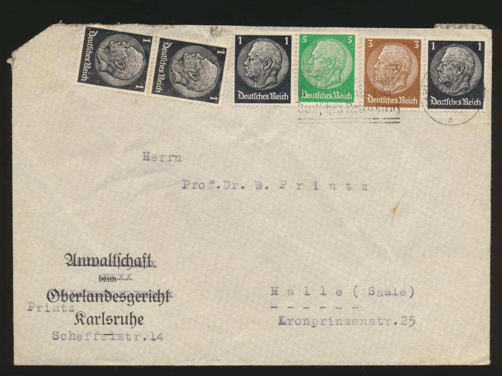 Deutsches Reich Brief Zusammendruck + Vignette Schallers Tee Karlsruhe n. Halle 0