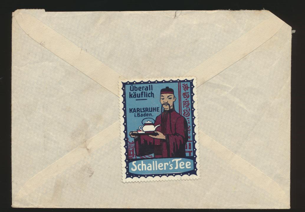 Deutsches Reich Brief Zusammendruck + Vignette Schallers Tee Karlsruhe n. Halle 1