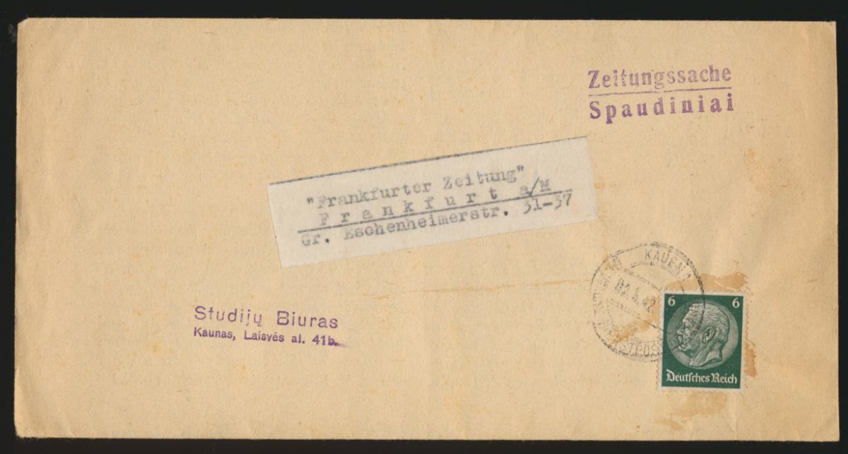 Deutsche Dienstpost Ostland EF Hindenburg Kauen Zeitungsstreifband n. Frankfurt 0