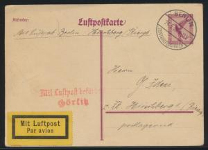 Flugpost airmail Ganzsache Deutsches Reich P 168 L2 Görlitz Berlin Hirschberg