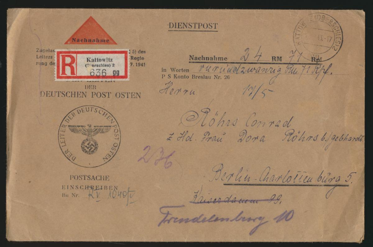 Postsache Kattowitz Schlesien Nachnahme R Brief Katowice K1 Leiter Post Osten  0