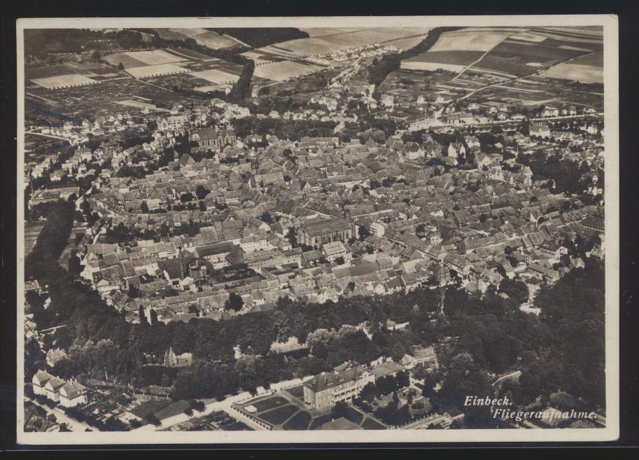 Ansichtskarte Fliegeraufnahme p. Bahnpost Einbeck Salzderheiden Zug 1384 Hamburg 0
