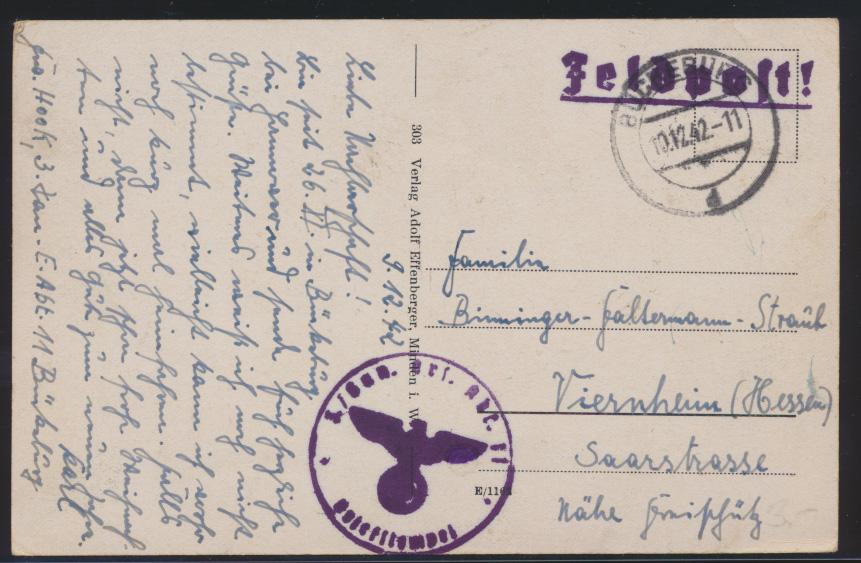 Ansichtskarte Bückeburg Schloß inter. Feldpost Stempel nach Vienheim 10.12.1942 0