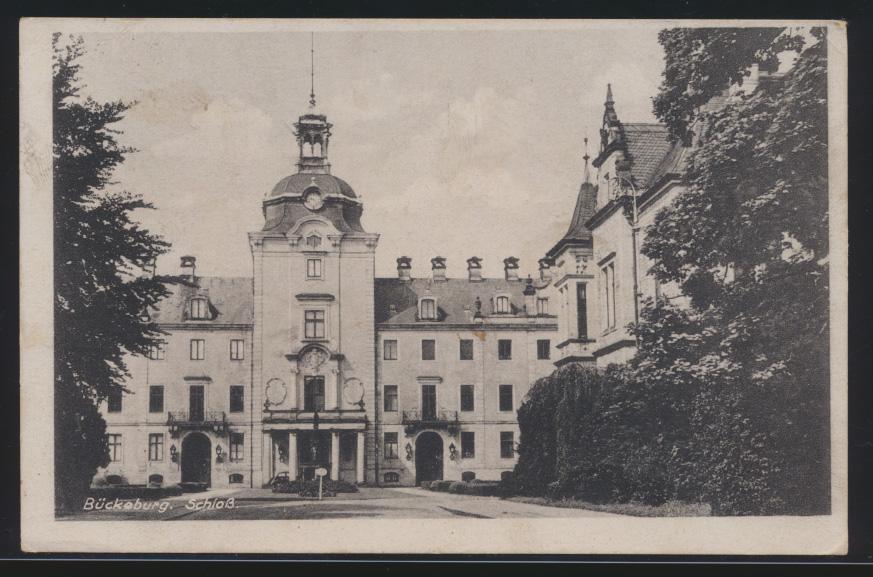 Ansichtskarte Bückeburg Schloß inter. Feldpost Stempel nach Vienheim 10.12.1942 1
