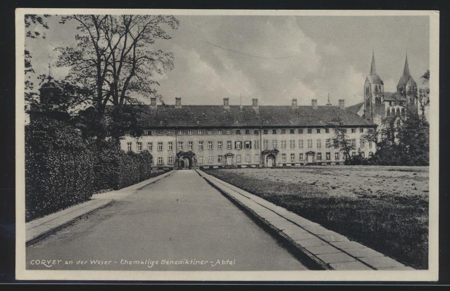 Bahnpost Ansichtskarte Corvey Aachen Holzminden Zug154 Benediktiner Abtei Höxter 0