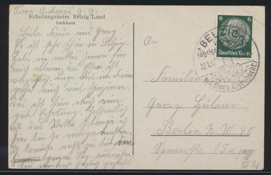 Ansichtskarte Belzig Parkhaus SST 1000 jährige Kreisstadt nach Berlin 22.1.1939 1