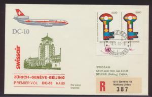 China Incoming mail Flugpost airmail UNO Schweiz Genf per Einschreiben