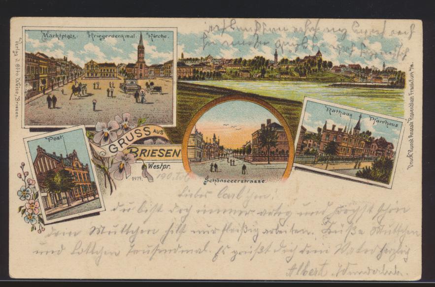 Ansichtskarte Briesen Westpreußen Post Schönseeerstr n. Labiau Polessk Russland  0
