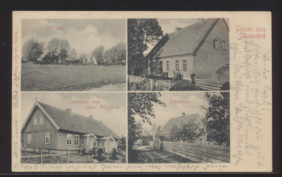 Ansichtskarte Skirwieth Ostpreussen Gasthaus Wiegratz Schule Labiau Russland  0