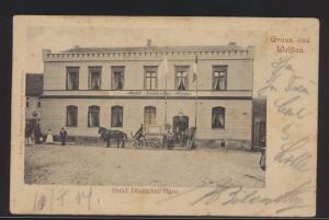 Ansichtskarte Wehlau Hotel Deutsches Haus Pferdekutsche Passanten Ostpreußen