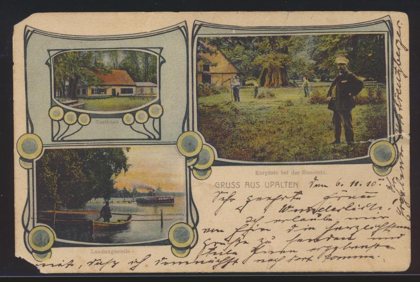 Ansichtskarte Upalten Lötzen Ostpreußen Gasthaus tolle Jugendstilkarte n. Labiau 0