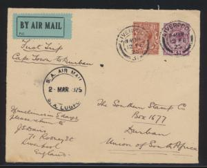 Flugpost air mail Großbritannien Great Britain Liverpool to Durban South Africa