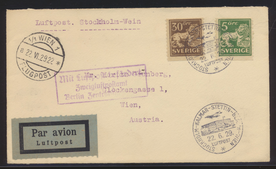Flugpost air mail Schweden nach Wien Österreich Sweden Stockholm Kalmar Stettin 0