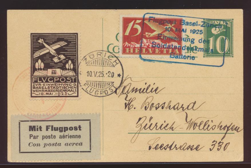Flugpost air mail Schweiz attr. Ganzsache mit ZUF + Vignette Soldatendenkmal 0