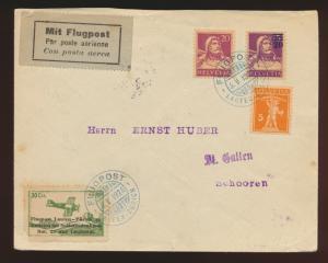 Flugpost air mail Schweiz Brief MIF Tell + Vignette Laufen Zürich 4.5.1924