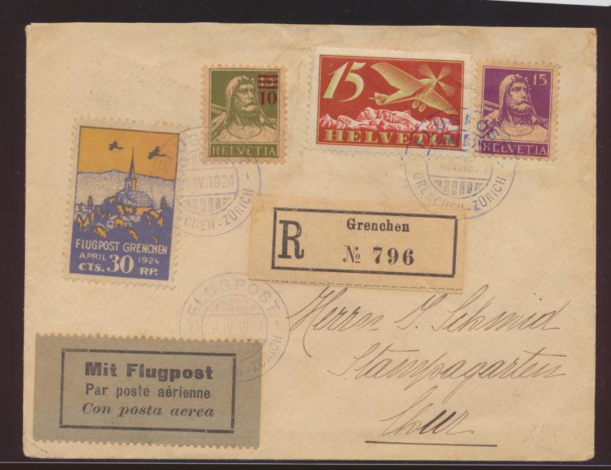Flugpost air mail Schweiz Brief MIF Tell + Flugpost + Vignette Grenchen Zürich 0