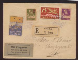 Flugpost air mail Schweiz Brief MIF Tell + Flugpost + Vignette Grenchen Zürich