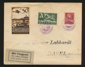 Flugpost air mail Schweiz Brief MIF Tell + Flugpost + Vignette Romanshorn Zürich
